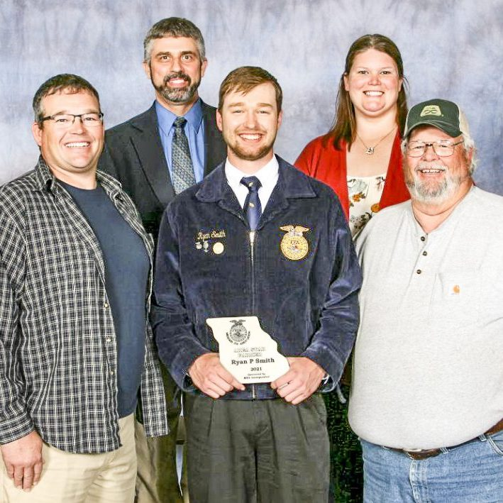 Area Three Star Farmer - Front Row/Left to Right: Brad Smith, Ryan Smith and Ronnie Smith. Back Row/Left to Right: Advisor Jarred Sayre and Advisor Cassie Cowles. Photo submitted