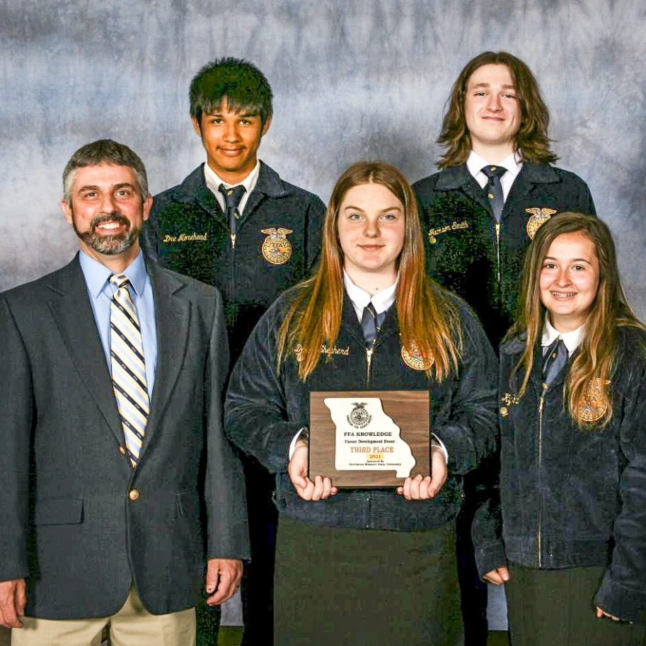 Milan FFA Chapter Representatives - Front Row/Left to Right: Advisor Jarrod Sayre, Danika Shepard, Kyla White. Back Row/Left to Right: Adan Callejo, Jackson Smith. Photo submitted