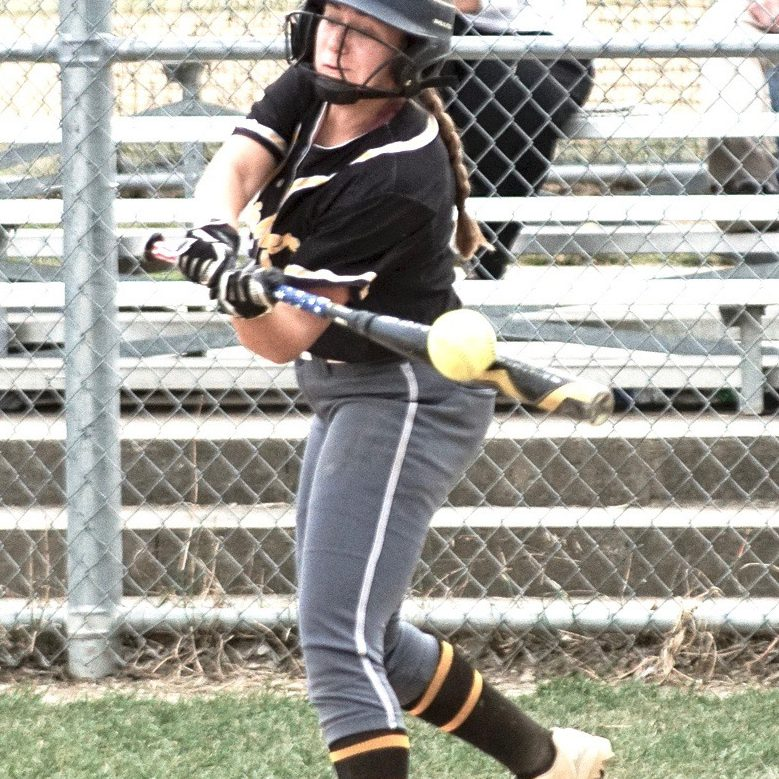 Green City Lady Gophers played a close conference game with Brashear - Maddie Lunsford slap bunts during a 2-1 Brashear win at Green City. Maddie is one of the four Green City softball seniors this season. Photo by David Sharp